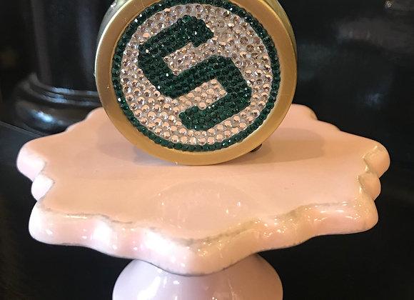 PILL CASE, Michigan State Spartans, Swarovski Crystals