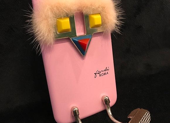 CELL PHONE CASE, Fendi, Pink, Lt Pink Fur, Dangling Legs, iphone XS Max