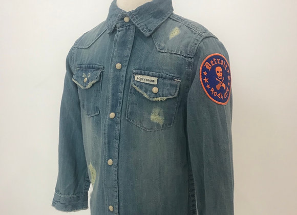 Detroit Rock City, LUCKY BRAND, L/S Distressed Lt. Blue Denim Shirt