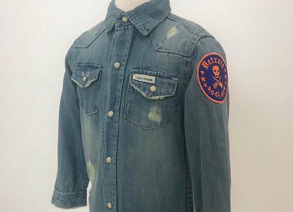 Detroit Rock City, LUCKY BRAND, L/S Distressed Lt. Blue Denim Shirt