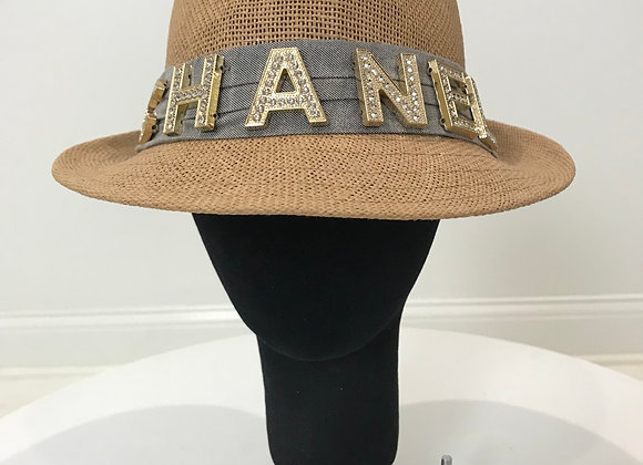 Fedora Hat, Beige Straw, Chanel, Gold Crystal Letters