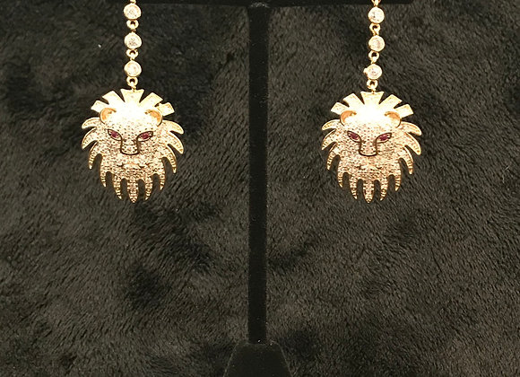 Earrings, Pierced, Drop Lion Head, Cubic Zirconia