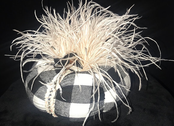 Pumpkin, Black & White Check, Blush Ostrich Feathers