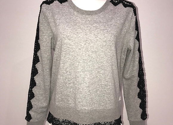 ADIDAS, L/S Sleeve Crew Neck Sweatshirt,Black Lace