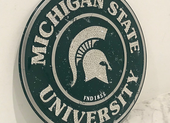 """Michigan State University"" Wall Art, Metal, Swarovski Crystals"