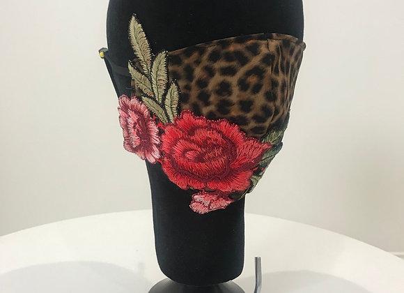 Leopard Roses applique, GLAMical face mask