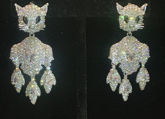 Earrings, Pierced, Dangle Cat, Sterling Silver, Cubic Zirconia