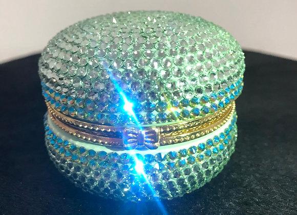 PILL CASE, Macaroon, Ceramic, Mint Green/White, Swarovski Crystals