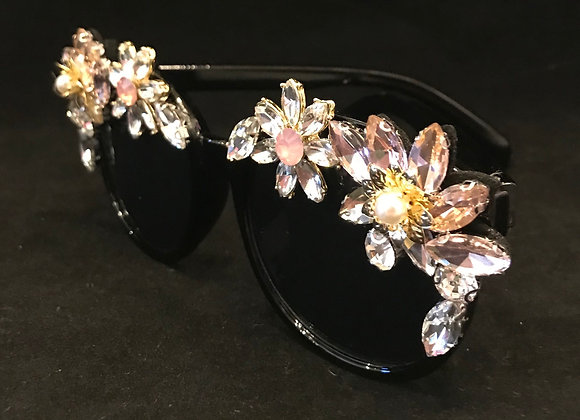 Sunglasses, Black Frame, Flowers, Pink/Clear Crystals & Pearls