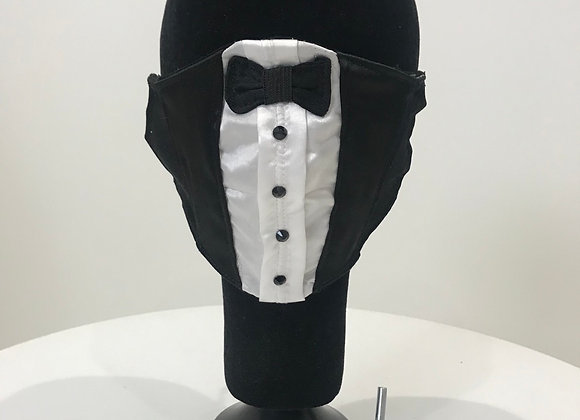 Wedding, Groom, Tuxedo, Black Satin, GLAMical face mask