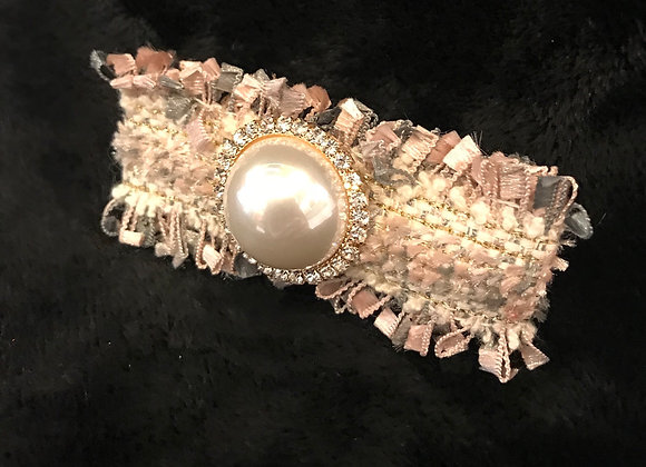 Hair Clip, Pink/Gray Tweed, Rectangle, Pearl