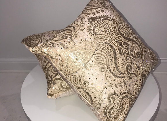 Decorative Square Throw Pillows, Champagne