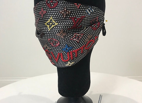 LOUIS VUITTON name, Satin, black polka dot pattern, GLAMical face mask