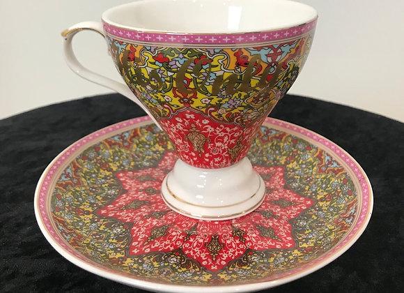 "Tea Cup & Saucer Set, ""His Only"", Bone China"