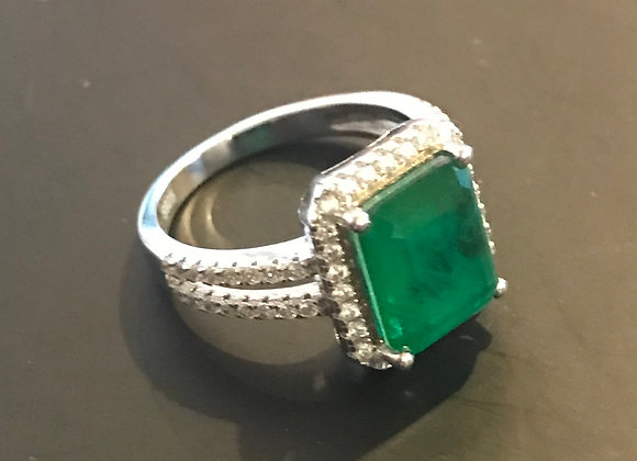 Ring, Emerald - Large Sqaure,, Cubic Zirconia - Clear