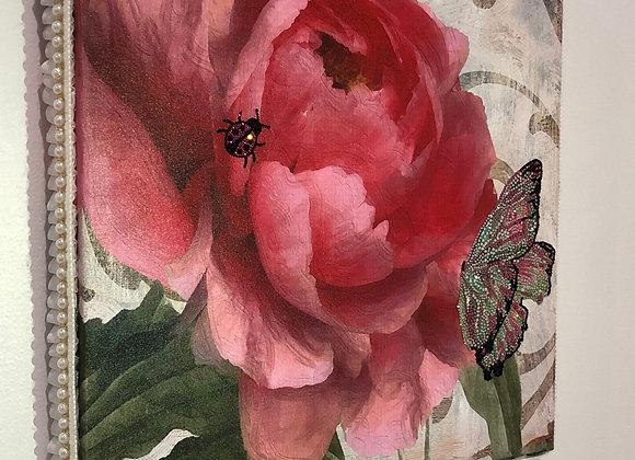 "Pink Rose/Butterfly/Ladybug"" Wall Art, Canvas, Swarovski Crysta"