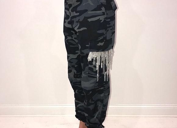 Ladies GLAMO Pants, Blue/Black Camo Cargo, Swarovski Crystal mesh/pearl details