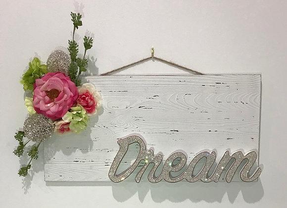 """""""Dream"""""""" Wall Art, Wood, Silk Floral, Swarovski Crystals"""