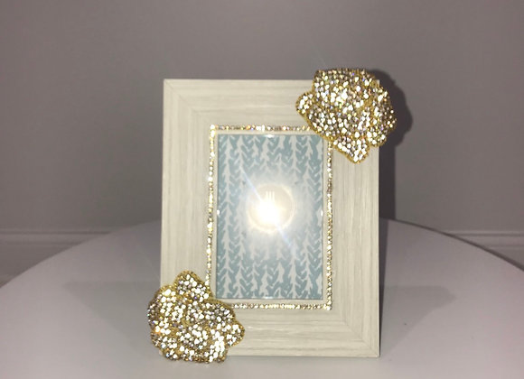 Gray, Photo Frame, gold rose rhinestone applique