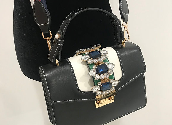 Purse, Gucci inspired, navy/white/green