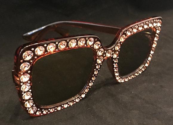 Sunglasses, Brown Frame, Lt. Brown Crystals