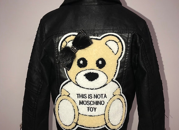 MOSCHINO, L/S Black Biker Style Leather Jacket, chenille teddy bear patch/ribbon