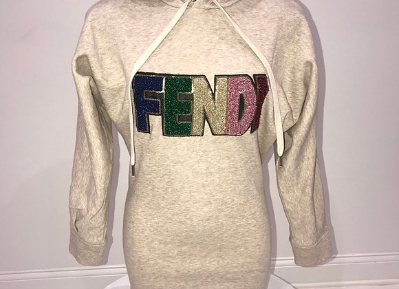 FENDI, L/S Hoody Sweatshirt, Oatmeal