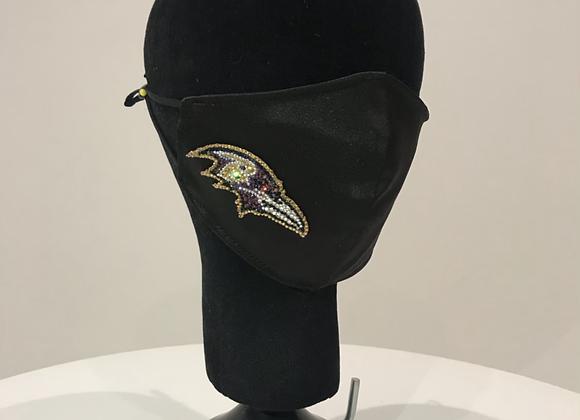 NFL Baltimore Ravens Mascot, Black Satin, GLAMical face mask