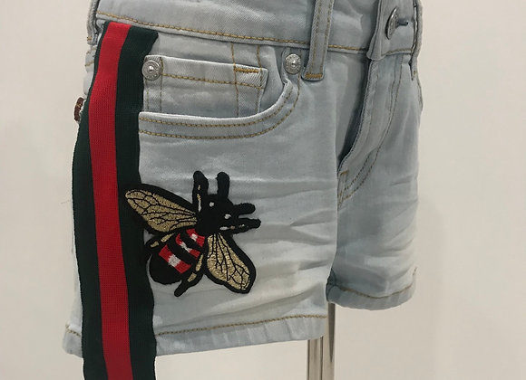 Denim Cut Off Shorts, 7 FOR ALL MANKIND,  GUCCI Trim & Patches