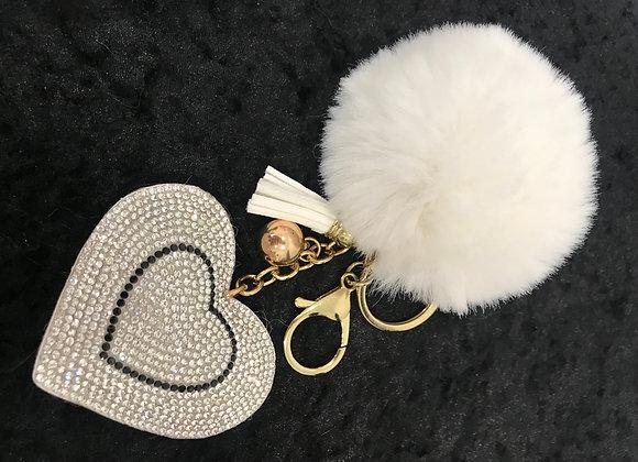 Keychain, Heart, White, Faux Fur Pom