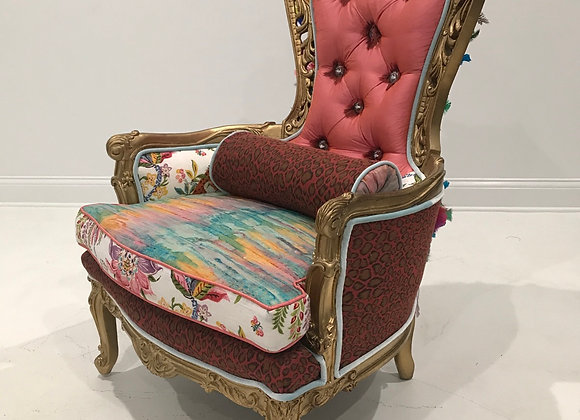 """Antique """"Feather"""" Chair, High Back, Gold"""