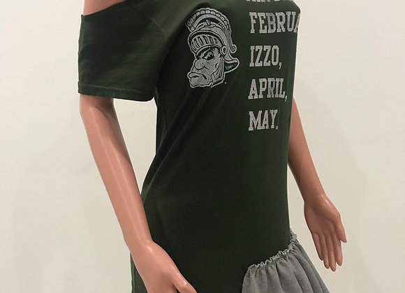 MICHIGAN STATE, S/S T-Shirt, Green, Cold Shoulder, Jersey Knit Ruffles