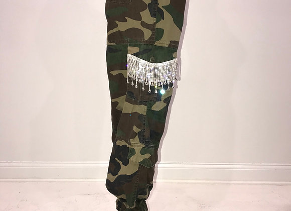 Ladies GLAMO Pants, Army Green Cargo, pockets- dangle crystal drop