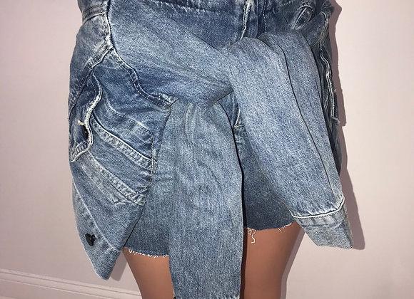 Blue Denim Jacket Wrap Cut Off Short, Alexander Wang Style