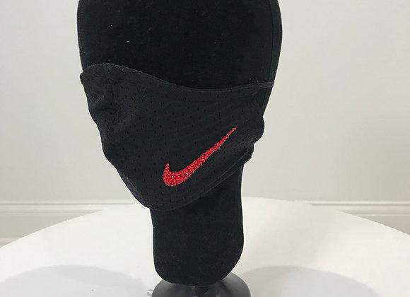 NIKE, Black Jersey, Red logo, GLAMical face mask, Swarovski Crystal