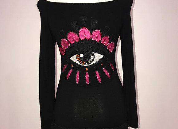 Ladies Top L/S off the shoulder fringe hem Fendi eyelash patch crystals