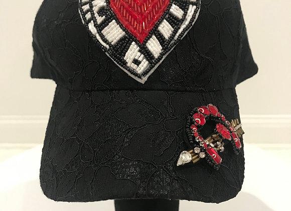 D & G Designer Heart Angel, Black Lace, Baseball Hat
