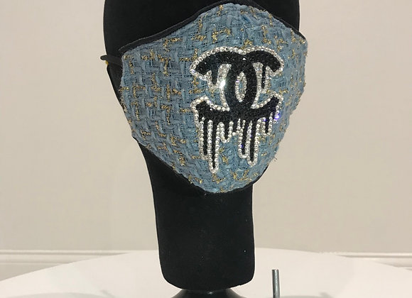 CHANEL Tweed Dusty Blue/Gold, GLAMical face mask Swarovski Crystals