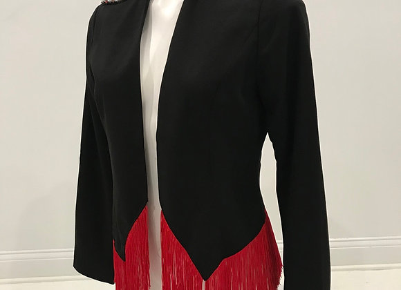 Black Crop Blazer, Red Fringe & Crystal Detail