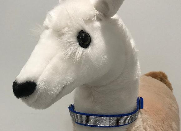 Dog Collar, Nylon, Cobalt Blue, Silver Swarovski Crystal Trim