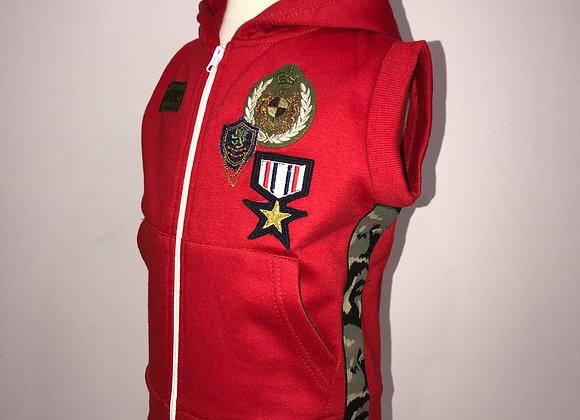Zip Front Hoody Vest, designer patches & camo side trim