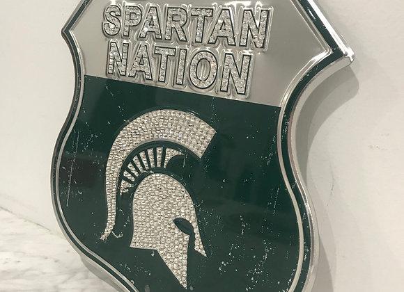 """Spartan Nation"" Michigan State Wall Art, Metal, Swarovski Crystals"