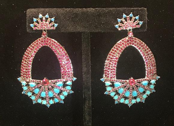 Earrings, Pierced, Crown Oval Dangle,  Cubic Zirconia