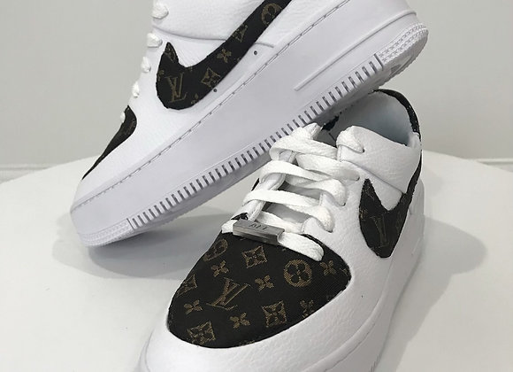 NIKE Air AF1 Louis Vuitton Detail Sneakers, Dark Brown Brocade