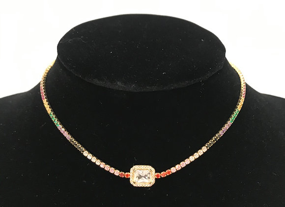 Necklace, Choker, Rhinestones, Rainbow