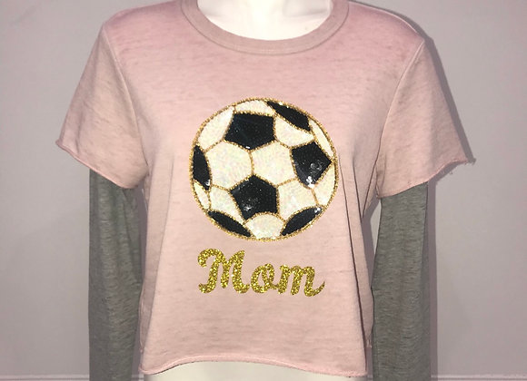 Ladies L/S Layered Pullover Top SOCCER MOM
