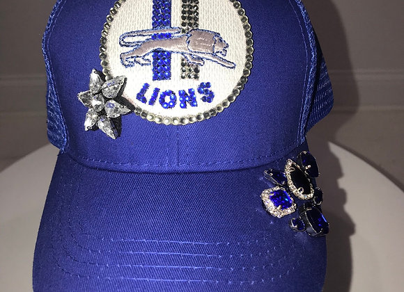 DETROIT LIONS, Royal Blue Twill, Baseball Hat, Swarovski Crystals
