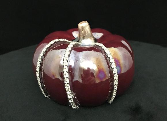 Pumpkin, Burgundy, clear rhinestone trim