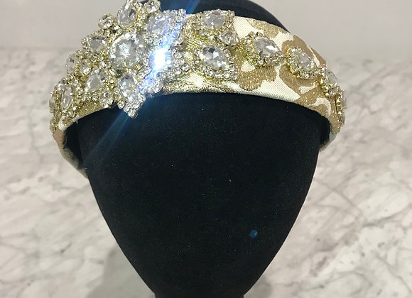 Headband, Cream/Gold Lace, Crystals, Star