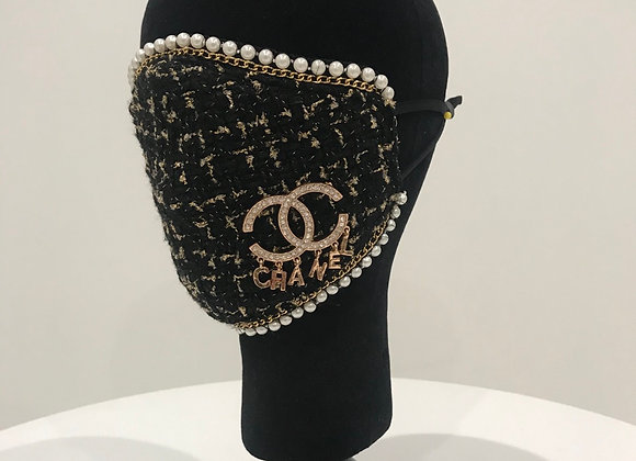CHANEL, Black/Gold Tweed, Pin, Pearl  border, GLAMical face mask